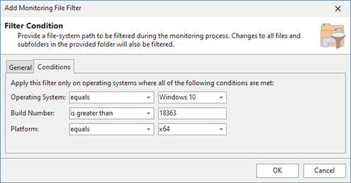 Configuring OS and platform conditions filters