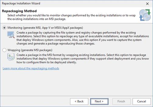 Select the repackaging method