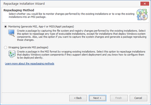 Selecting a repackaging method