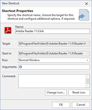 Adding a shortcut to a project