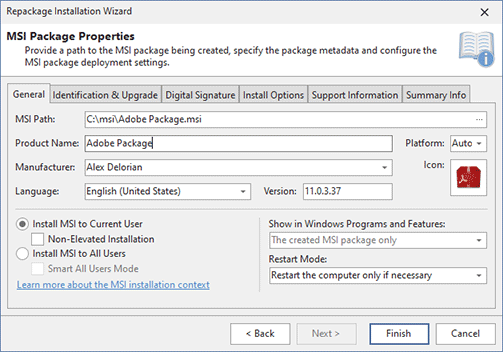 Configuring an MSI package