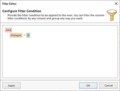 Configuring filter in Statistics