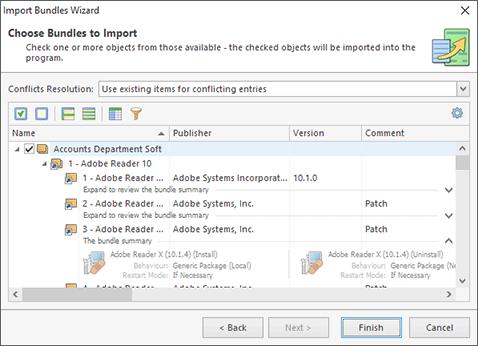 Choosing Software Bundles to import