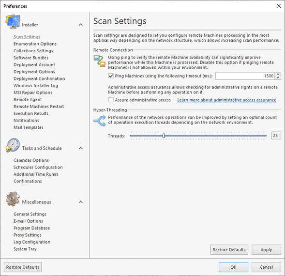 Configuring scan settings