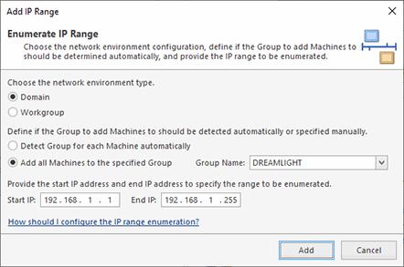 Configuring an IP range enumeration