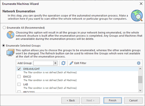 Selecting domains and workgroups for enumeration