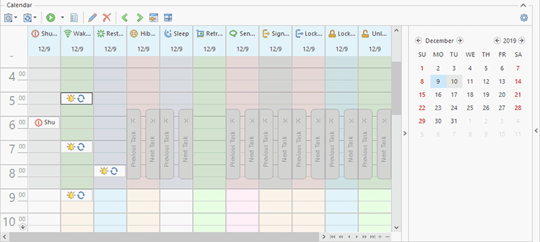 The Scheduling area grouped by task type