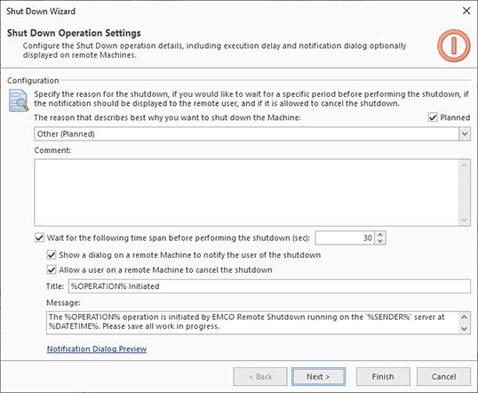 Shutdown options configuration