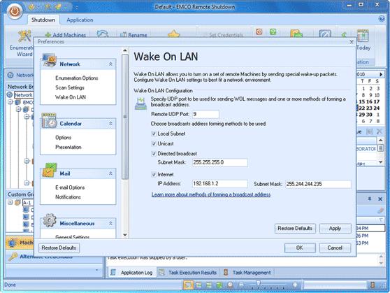 Wake On LAN settings